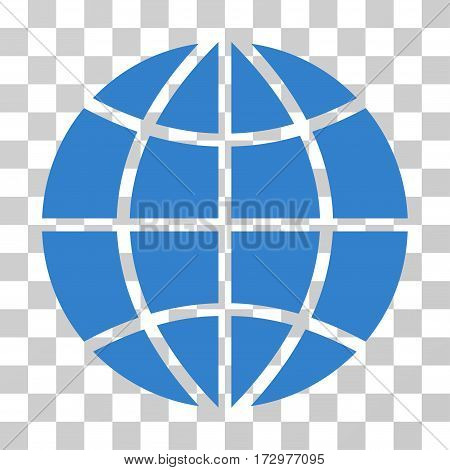 Planet Globe vector pictograph. Illustration style is flat iconic cobalt symbol on a transparent background.