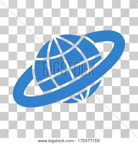 Planetary Ring vector icon. Illustration style is flat iconic cobalt symbol on a transparent background.
