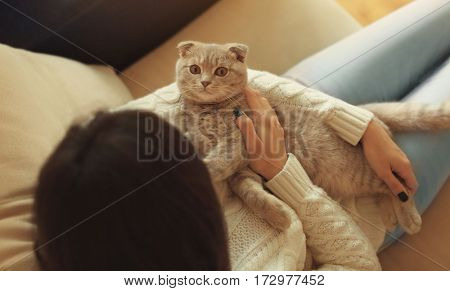 Young woman with cute cat resting at home