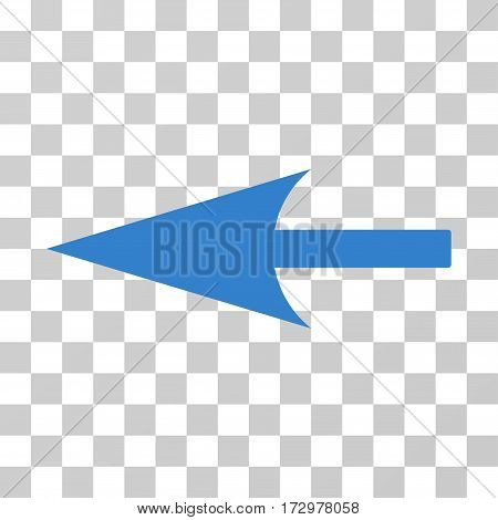 Sharp Left Arrow vector icon. Illustration style is flat iconic cobalt symbol on a transparent background.