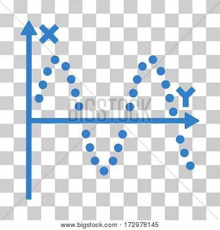 Sine Plot vector pictogram. Illustration style is flat iconic cobalt symbol on a transparent background.