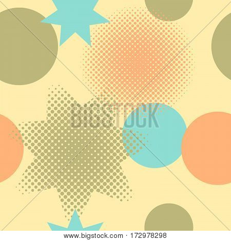 Seamless pattern of circles and stars including halftone effect on a yellow background