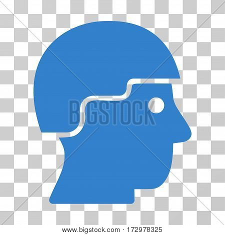 Soldier Helmet vector pictograph. Illustration style is flat iconic cobalt symbol on a transparent background.
