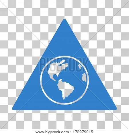 Terra Triangle vector pictogram. Illustration style is flat iconic cobalt symbol on a transparent background.