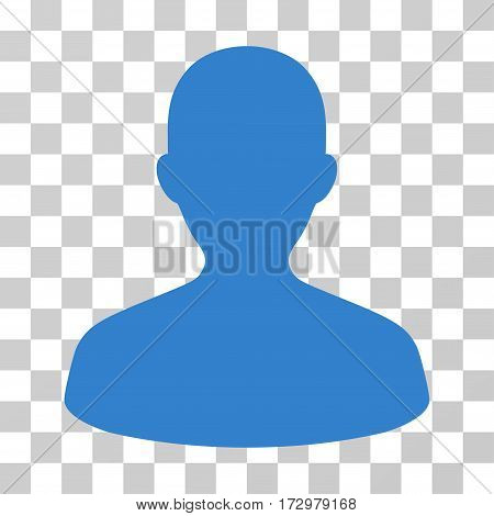 User vector pictograph. Illustration style is flat iconic cobalt symbol on a transparent background.