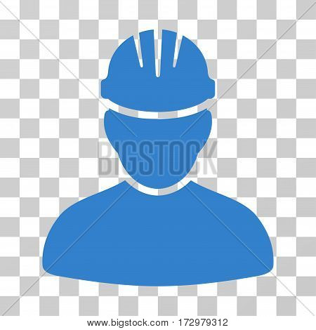Worker Person vector pictograph. Illustration style is flat iconic cobalt symbol on a transparent background.