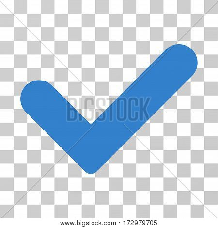 Yes vector pictogram. Illustration style is flat iconic cobalt symbol on a transparent background.