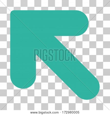Arrow Up Left vector pictogram. Illustration style is flat iconic cyan symbol on a transparent background.