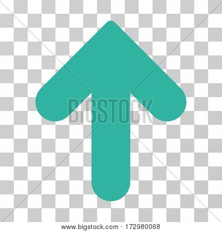 Arrow Up vector pictograph. Illustration style is flat iconic cyan symbol on a transparent background.