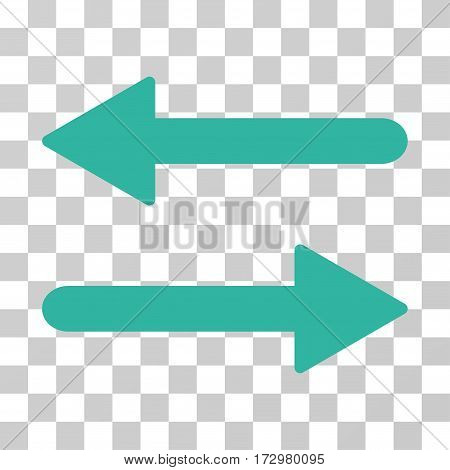 Arrows Exchange Horizontal vector pictograph. Illustration style is flat iconic cyan symbol on a transparent background.
