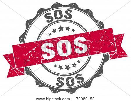 sos. stamp. sign. seal. round. retro. ribbon