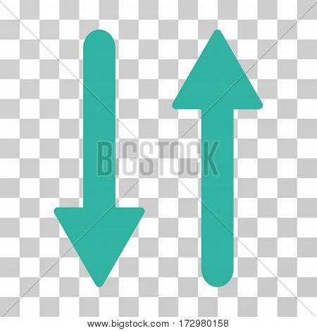 Arrows Exchange Vertical vector icon. Illustration style is flat iconic cyan symbol on a transparent background.