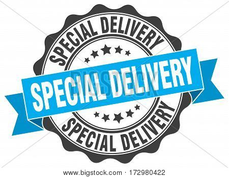 special delivery. stamp. sign. seal. round. retro. ribbon