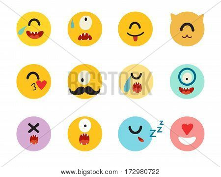 Emoticons cyclops vector set. Monsters caracters yellow circle illustration. Cute funny cyclops emoji. Emoji big set flat cartoon style. Isolated icons on white background