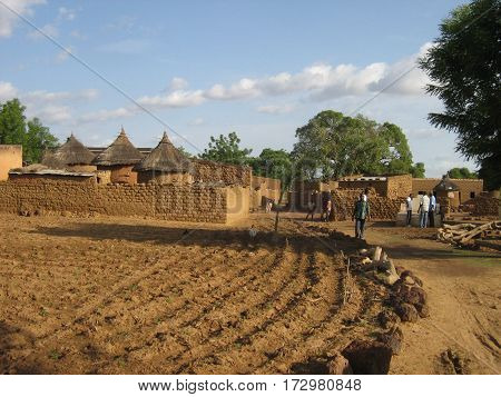 Fields and Village in Burkina Faso, West Africa