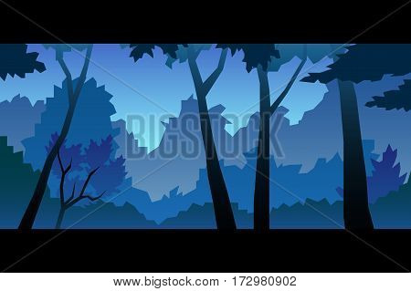 illustration of a bright night forest landscape
