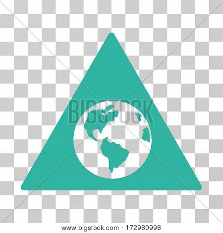Earth Warning vector icon. Illustration style is flat iconic cyan symbol on a transparent background.