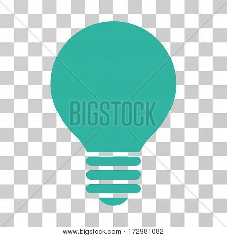 Electric Bulb vector icon. Illustration style is flat iconic cyan symbol on a transparent background.