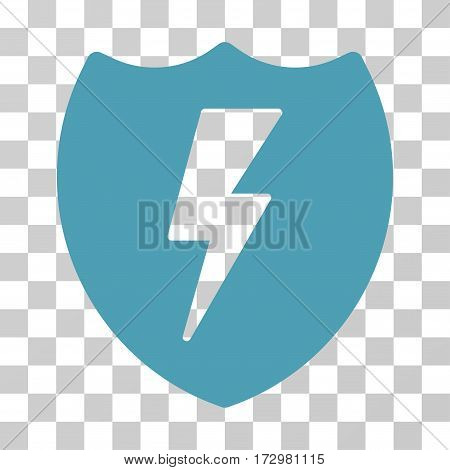 Electric Shield vector pictogram. Illustration style is flat iconic cyan symbol on a transparent background.
