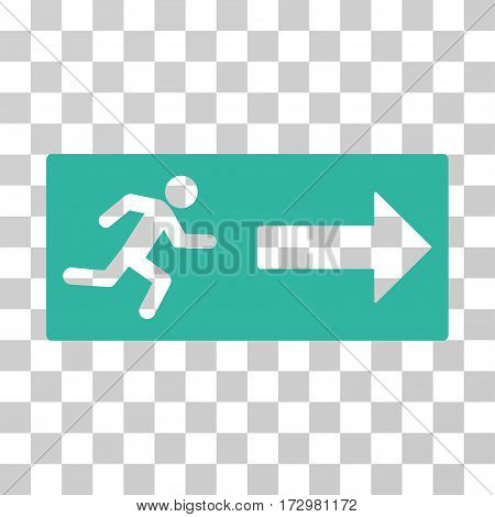 Emergency Exit vector icon. Illustration style is flat iconic cyan symbol on a transparent background.