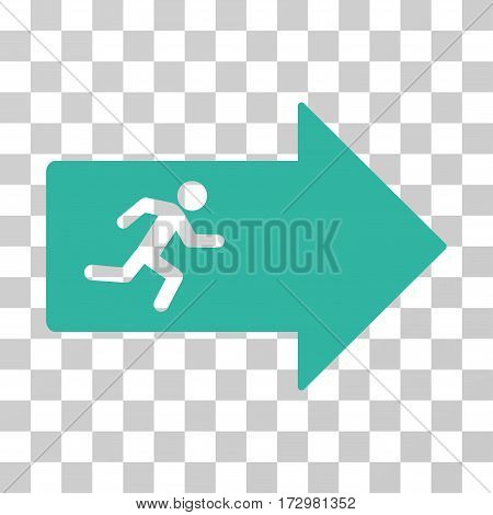 Exit Arrow vector pictograph. Illustration style is flat iconic cyan symbol on a transparent background.