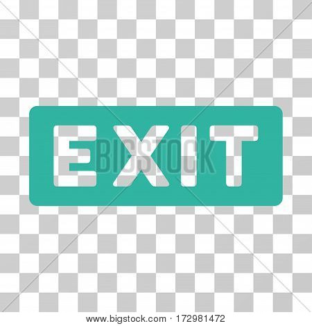 Exit Label vector icon. Illustration style is flat iconic cyan symbol on a transparent background.