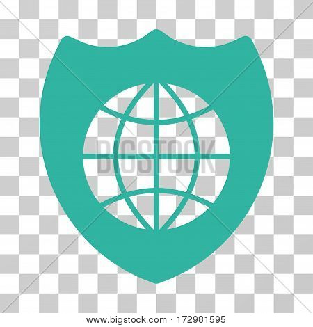 Global Shield vector pictogram. Illustration style is flat iconic cyan symbol on a transparent background.