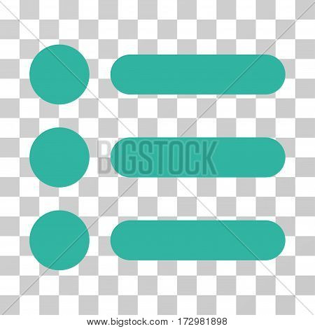 Items vector pictograph. Illustration style is flat iconic cyan symbol on a transparent background.