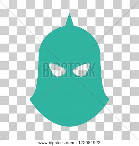 Knight Helmet vector pictograph. Illustration style is flat iconic cyan symbol on a transparent background.