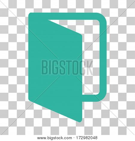 Open Door vector pictogram. Illustration style is flat iconic cyan symbol on a transparent background.