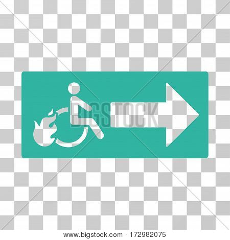 Patient Exit vector icon. Illustration style is flat iconic cyan symbol on a transparent background.