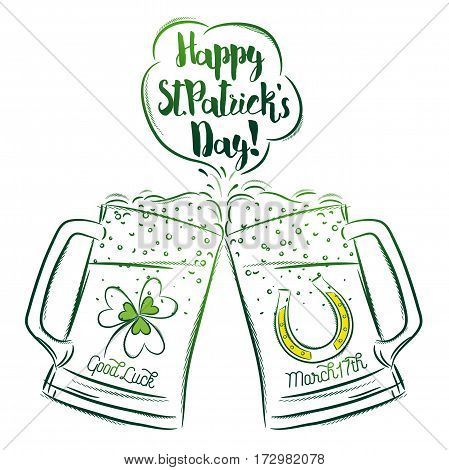 Design for St Patricks Day with two beer mugs with labels of shamrock and horseshoe vector illustration