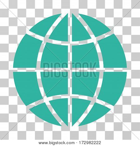 Planet Globe vector pictogram. Illustration style is flat iconic cyan symbol on a transparent background.