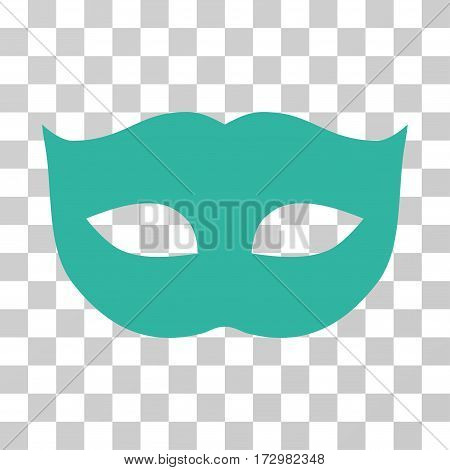 Privacy Mask vector pictogram. Illustration style is flat iconic cyan symbol on a transparent background.