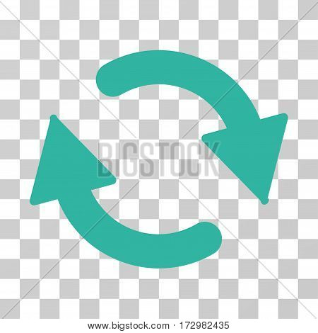 Refresh vector pictogram. Illustration style is flat iconic cyan symbol on a transparent background.