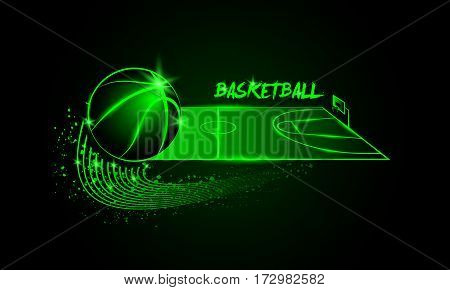 Basketball ball and basketball court in horizontal perspective. Neon linear illustration