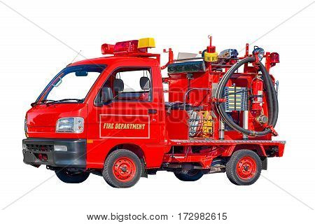 Horizontal shot of a red Baby Firetruck Isolated on White.