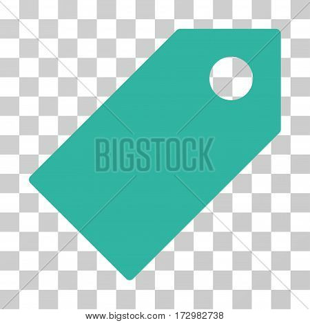 Tag vector pictograph. Illustration style is flat iconic cyan symbol on a transparent background.
