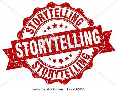 storytelling. stamp. sign. seal. round. retro. ribbon