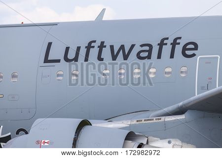 BERLIN / GERMANY - JUNE 3, 2016: Luftwaffe ( german Airforce ) logo on an aircraft from german airforce