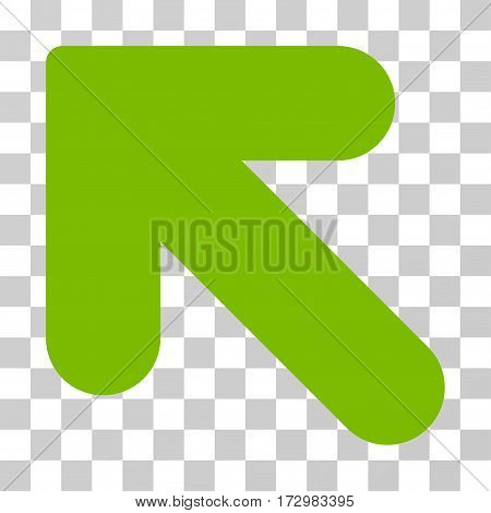 Arrow Up Left vector icon. Illustration style is flat iconic eco green symbol on a transparent background.
