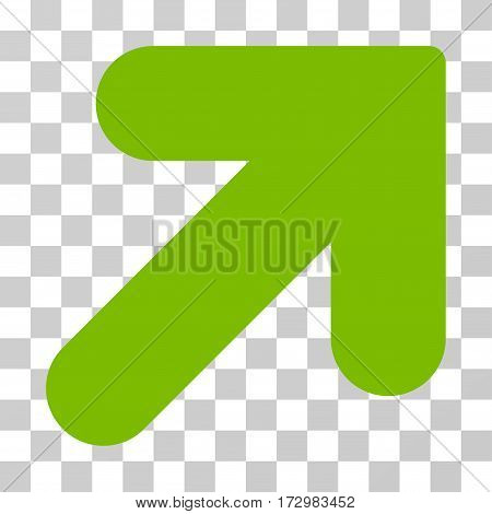 Arrow Up Right vector pictogram. Illustration style is flat iconic eco green symbol on a transparent background.
