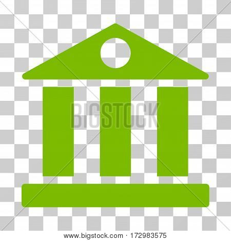 Bank Building vector icon. Illustration style is flat iconic eco green symbol on a transparent background.