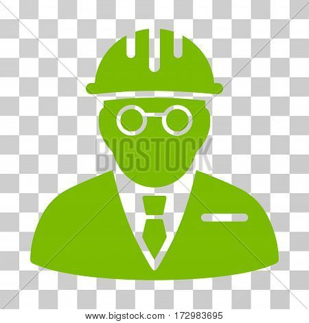Blind Engineer vector pictogram. Illustration style is flat iconic eco green symbol on a transparent background.