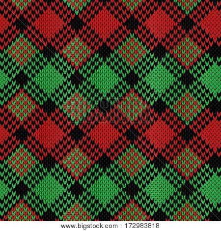 Seamless Knitted Pattern In Black, Green And Red Colors