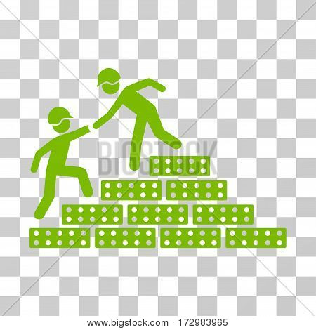 Builder Stairs Help vector pictogram. Illustration style is flat iconic eco green symbol on a transparent background.