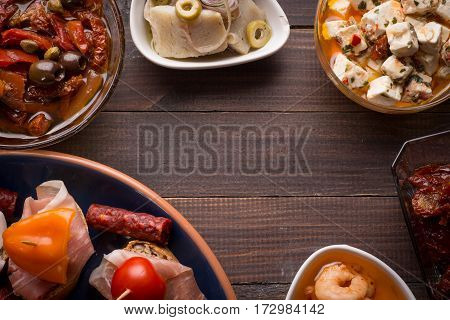 Top View Of Spanish Tapas Starters