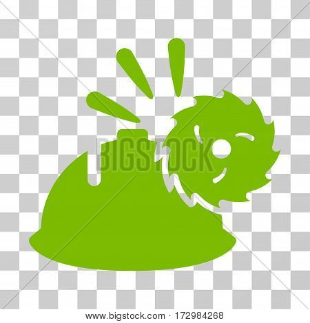 Circular Blade Head Protection vector pictogram. Illustration style is flat iconic eco green symbol on a transparent background.