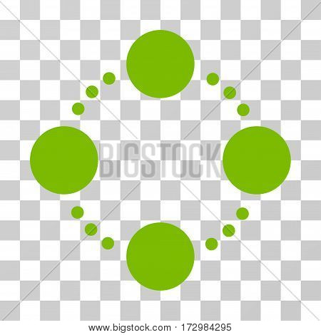 Circular Relations vector icon. Illustration style is flat iconic eco green symbol on a transparent background.