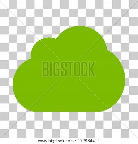 Cloud vector pictograph. Illustration style is flat iconic eco green symbol on a transparent background.